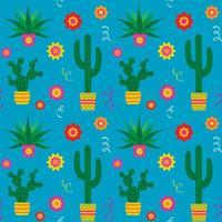 cinco de mayo cactus en bloemen naadloos patroon