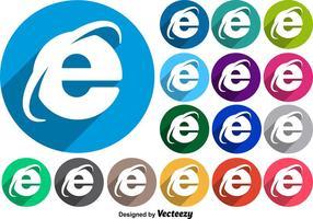 Vector Internet Icon Kleurrijke Knoppen Met Lang Schaduwen