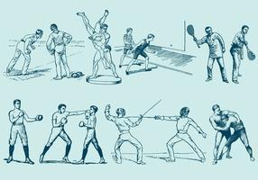 Oude stijl paar sporten vector