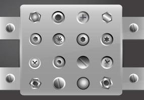 Nail Head schroef metalen set vector