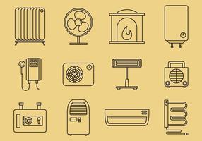 Home Verwarming Pictogrammen vector