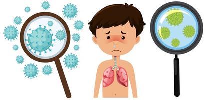 coronaviruscel en zieke jongen vector