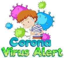 coronaviruswaarschuwing bij zieke jongen vector