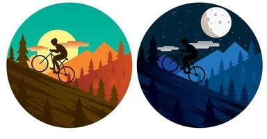mountainbiker cirkelvormige pictogrammen vector