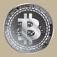 zilveren bitcoin icoon vector