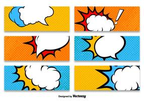 Cartoon Style Banner Vector Sjablonen