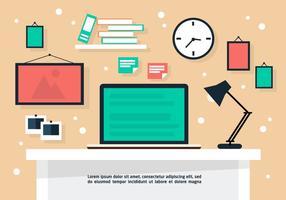 Gratis Flat Business Desk Vector Achtergrond