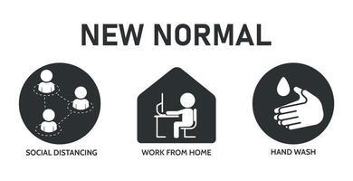 zwarte, witte '' nieuwe normale '' pictogrammen vector