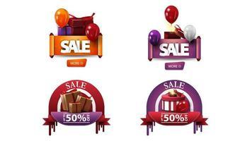 korting banners met cadeautjes en knoppen