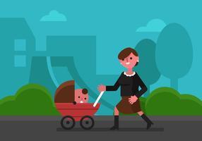 Vector Babysitter In Het Park