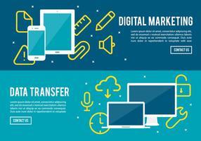 Gratis digitale marketing en data-overdracht vector achtergrond