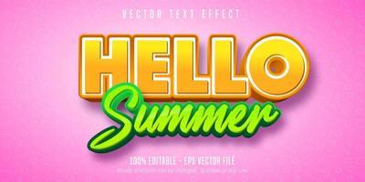 Hallo zomer oranje en groen bewerkbaar teksteffect