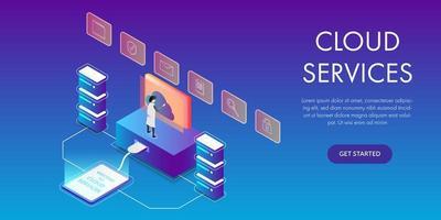 man met behulp van computer cloud services concept vector