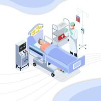 arts die chirurgie bij patiënt voorbereidingen treft uit te voeren vector