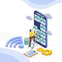 man beheren contact in de cloud-service