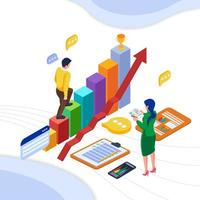 teamwerkcommunicatie met grafiek en gegevens vector
