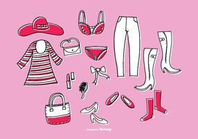 Handgetekende vrouwenkledingvectoren vector