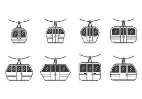 Set van kabelbaan icoon