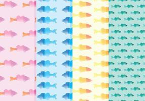Vector Waterverf Vissenpatronen