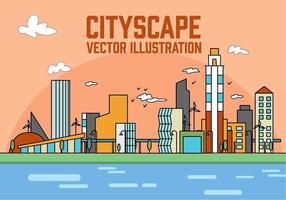 Gratis Perzik Lineaire City Vector Illustratie