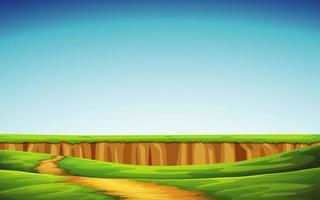 groen veld en blauwe hemel vector