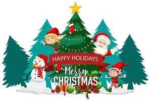 fijne feestdagen met santa en elf vector