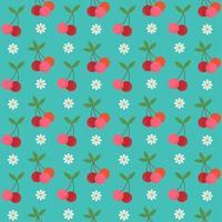 retro kersen en bloemen naadloos patroon