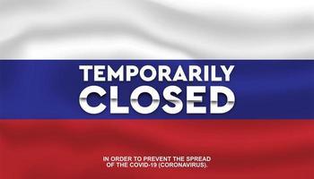 vlag van Rusland '' tijdelijk gesloten '' achtergrond