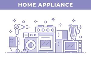 huishoudapparatuur lineair ontwerp vector