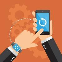 synchronisatie met smartwatch en smartphone vector