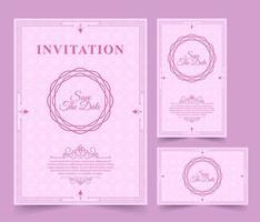 vintage zacht roze sparen de datumkaartenset