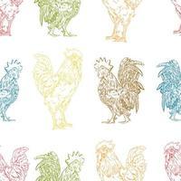 kleurrijk haan naadloos patroon vector