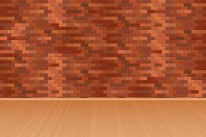 rode bakstenen muur en houten vloer