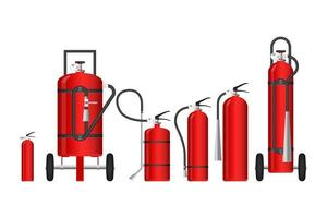 brandblussers van verschillende afmetingen vector