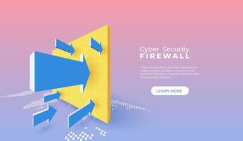 cyberbeveiliging met firewall vector