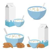kom granen met melk geïsoleerd op een witte achtergrond vector