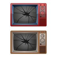 gebroken tv geïsoleerd op een witte achtergrond