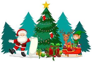 kerstthema met santa en zijn lijst vector