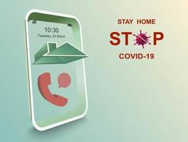 blijf thuis en stop covid-19 vector