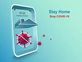 blijf thuis en stop het coronavirus vector