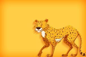 achtergrond sjabloonontwerp met effen kleur en cheetah vector