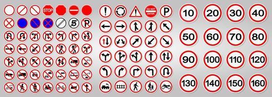 set van weg- en verkeerswaarschuwingsborden vector