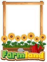 rand sjabloon met zonnebloemen in de tuin vector