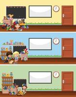 klaslokaal met speelgoed en kinderen achtergronden