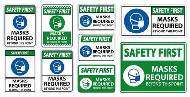 veiligheids eerste maskers vereist