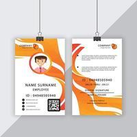 professionele dynamische oranje vloeiende lijnen id-kaart