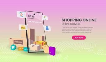 online winkelen op het smartphonescherm vector