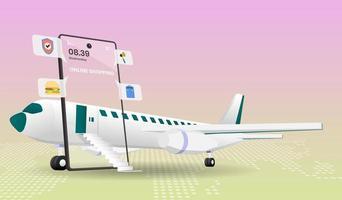 winkelen online bestemmingspagina met vliegtuig en telefoon