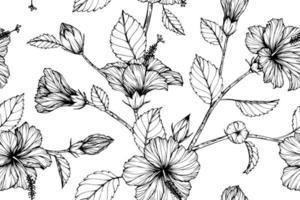 hibiscus hand getekend naadloze patroon vector