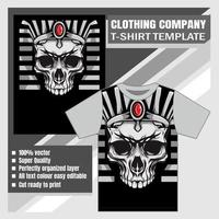Egyptische koning schedel hoofd t-shirt sjabloon vector